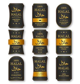 Set di etichette alimentari halal di colore oro e nero