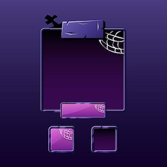 Set di schede di halloween pop-up per elementi di asset gui