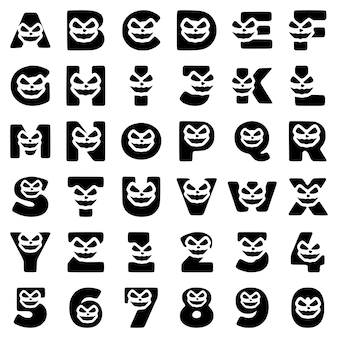 Un insieme di caratteri di halloween sotto forma di lettere e numeri con una faccia pazza, clipart vettoriali.