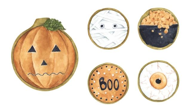 Set di biscotti di halloween. illustrazione dell'acquerello.