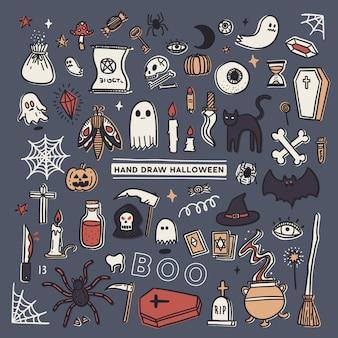 Insieme di doodle di halloween, schizzo di tiraggio della mano.