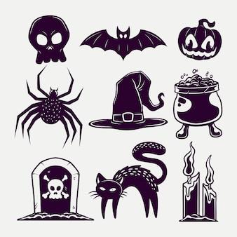 Imposta il design del modello di elementi di halloween in nero