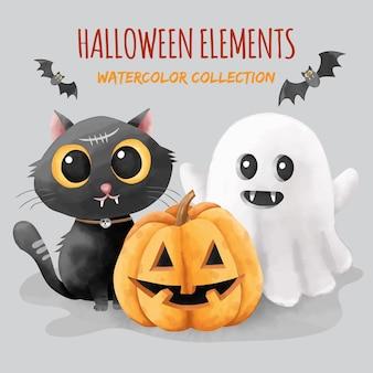 Set di elementi di halloween in stile acquerello