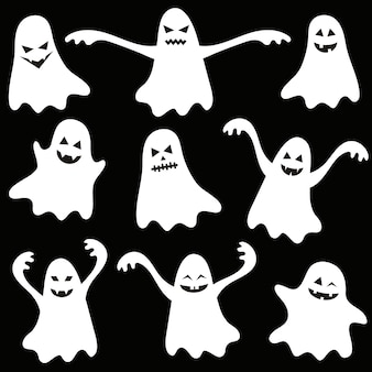 Set di fantasmi divertenti di halloween su sfondo nero