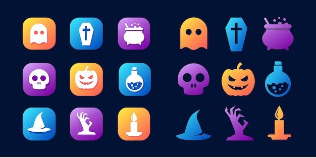 Set di icone di halloween con colore sfumato