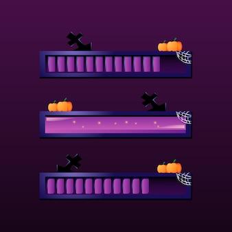 Set di barra di caricamento di halloween per elementi di asset della gui
