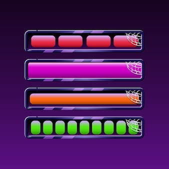 Set di barra di caricamento di halloween in vari colori per gli elementi delle risorse della gui