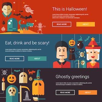 Set di illustrazioni moderne di halloween, banner, intestazioni con icone e personaggi. volantini per la festa