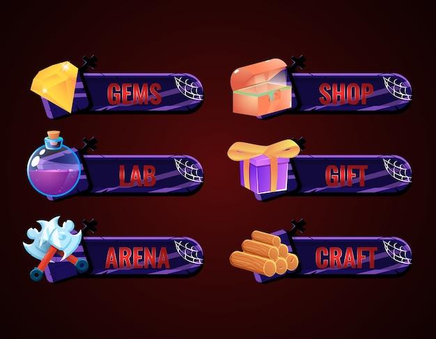 Set di barra della cornice del pannello di halloween per elementi di asset della gui