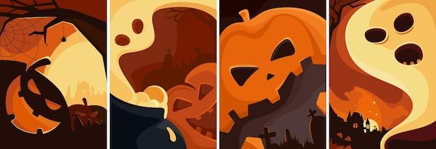 Set di poster di halloween. diversi modelli di cartelli. Vettore Premium
