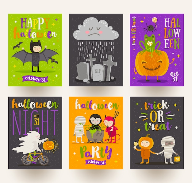 Set di poster di halloween o biglietto di auguri con personaggi dei cartoni animati, segno di vacanza, simboli e design del tipo. illustrazione.