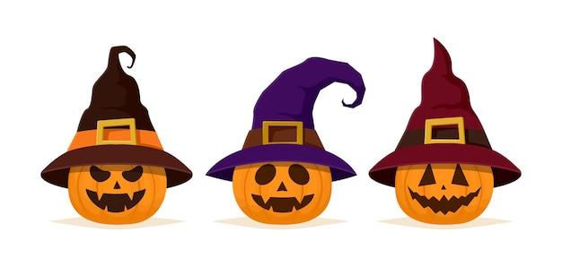 Set di zucca di halloween nel cappello della strega. faccia di zucca felice e spaventoso isolato su priorità bassa bianca.