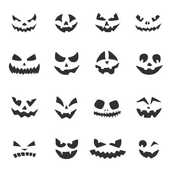 Insieme dei fronti delle zucche di halloween. jack-o-lantern con diverse espressioni facciali. facce di fantasmi di halloween