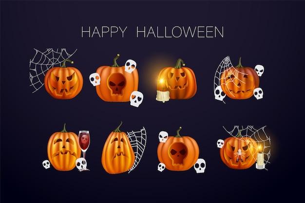 Set di zucche di halloween, facce buffe. vacanze autunnali. illustrazione di vettore eps10. set vettoriale di zucche per halloween