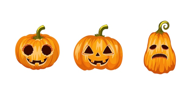 Set di zucche di halloween, facce buffe. collezione di zucche realistiche di halloween