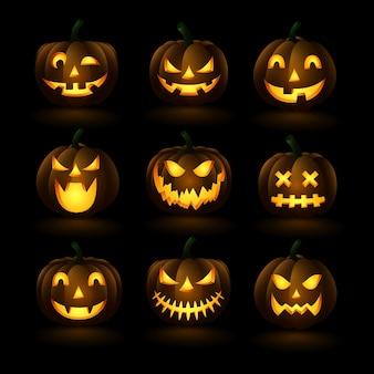 Insieme delle zucche di halloween, illustrazione facce divertente