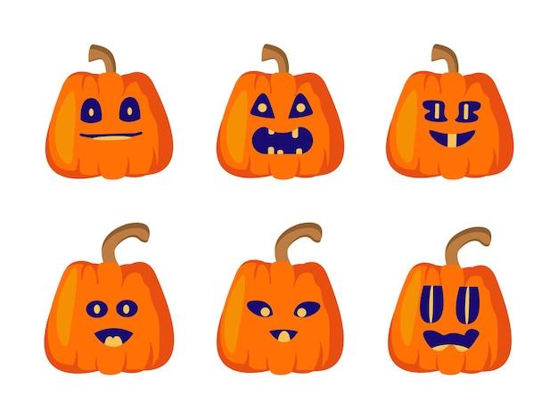 Impostare zucche di halloween con facce buffe. isolato su sfondo bianco piatto vettoriale. lanterna di jack per cartoline, inviti, etichette, packaging. illustrazione vettoriale, piatto