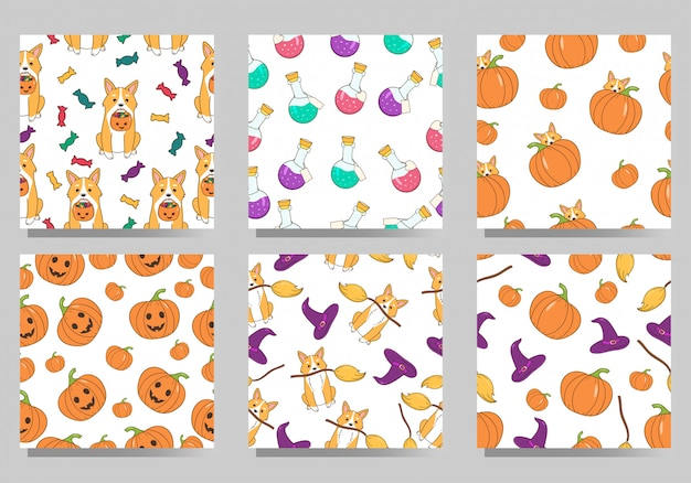 Set di modelli senza giunte di halloween. cartone animato simpatico cane corgi gallese, caramelle, zucche, cappello da strega e veleni.