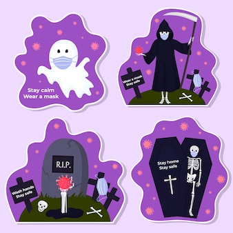 Set di adesivi di halloween personaggi tradizionali e oggetti per gli inviti