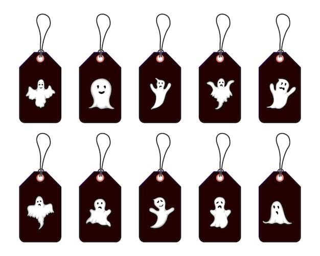 Set di tag di halloween per articoli per le vacanze su sfondo bianco. stile cartone animato. vettore.