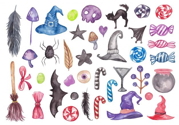 Set di raccolta di elementi ad acquerello di halloween