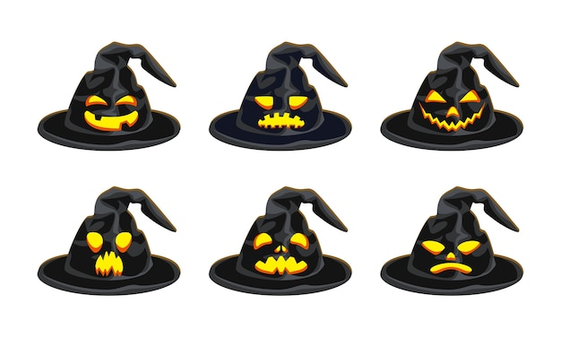 Set di cappelli da strega di halloween con sorrisi diabolici.