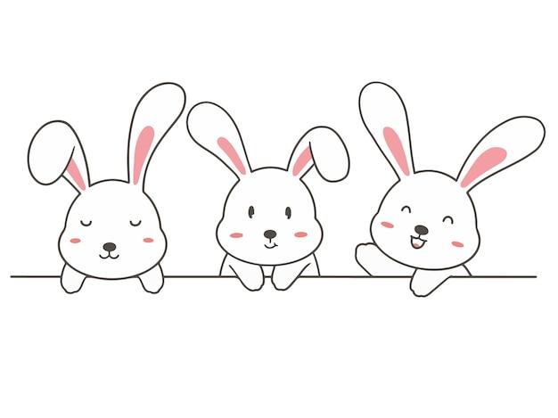Impostare disegnare a mano simpatico coniglio.