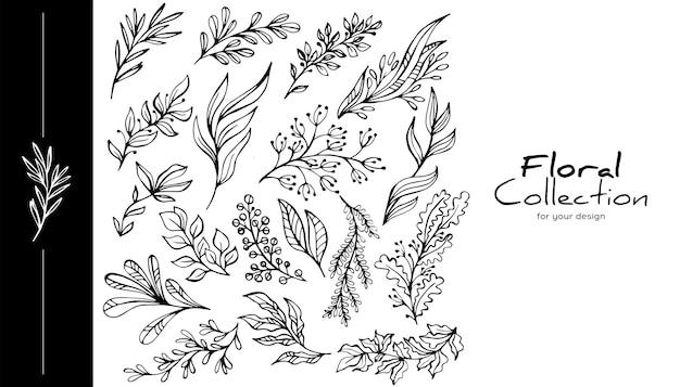 Insieme di elementi di disegno a mano. per inviti, cataloghi, biglietti di auguri, cornici per matrimoni, poster