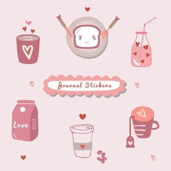 Set di illustrazione di disegno a mano per l'inserimento nel diario, adesivo o elementi con tema d'amore.