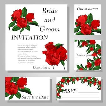 Set di disegno a mano carta di invito matrimonio fiore rosa