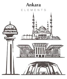 Insieme di edifici di ankara disegnati a mano