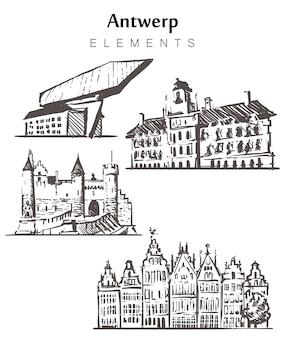 Insieme di edifici di anversa disegnati a mano