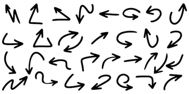 Insieme delle frecce disegnate a mano isolate su priorità bassa bianca. per infografica aziendale, banner, web e concept design. elementi di design di doodle di vettore.