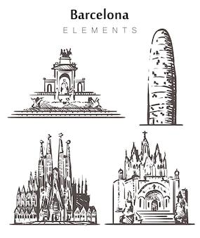Insieme di edifici di barcellona disegnati a mano