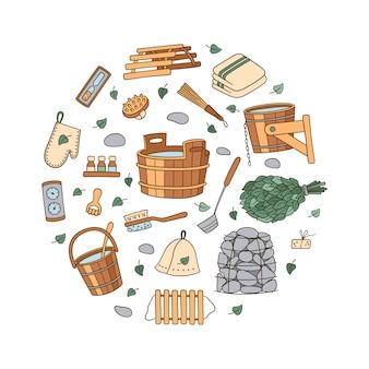 Set di accessori per sauna e bagno disegnati a mano. vasca e scopa di betulla, presina e cappello, termometro, massaggiatore e altro. illustrazione in stile doodle su sfondo bianco.