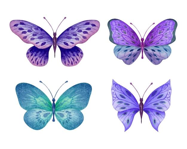 Set di bellissime farfalle ad acquerello disegnate a mano