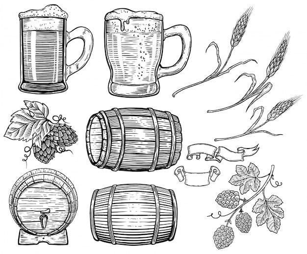 Insieme di elementi di birra disegnati a mano. luppolo, grano, botti di legno, boccali di birra. elemento di design per poster, carta, menu, emblema, badge. immagine
