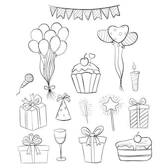 Insieme delle icone o degli elementi di compleanno disegnati a mano con bianco