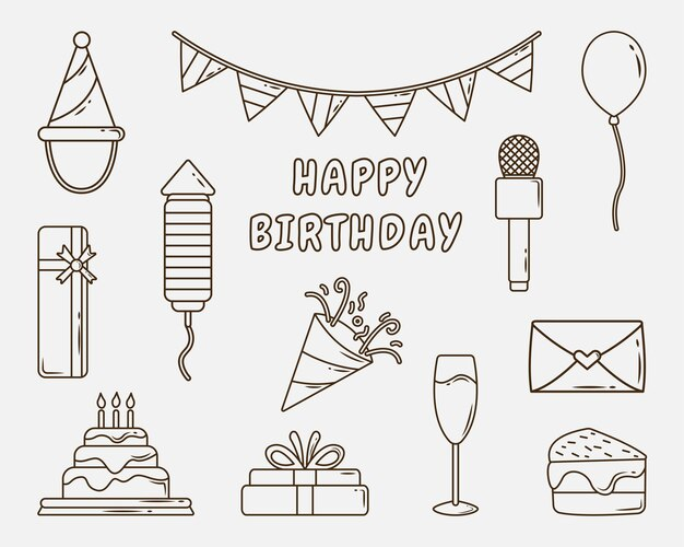 Set di coloritura di doodle del fumetto festa di compleanno disegnata a mano