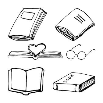 Set di libri disegnati a mano. doodle illustrazioni vettoriali in carino stile scandinavo. elemento per biglietti di auguri, poster, adesivi e design stagionale. isolato su sfondo bianco