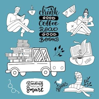 Set di libri disegnati a mano in stile doodle disegnato a mano collectiob di lettori maschili e femminili camion con ...