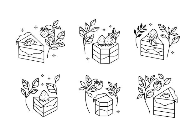 Set di torta, pasticceria e prodotti da forno disegnati a mano isolati