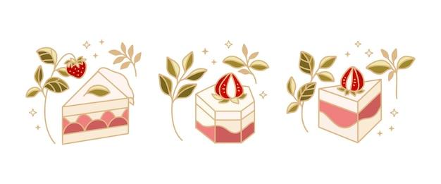 Insieme degli elementi di logo di torta, pasticceria e panetteria disegnati a mano con foglia floreale e frutta fragola isolata