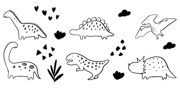 Set di dinosauro del fumetto disegnato a mano isolato su priorità bassa bianca. illustrazione di scarabocchio di vettore.