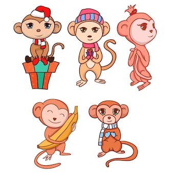 Set di scimmiette disegnate a mano per la tua creatività