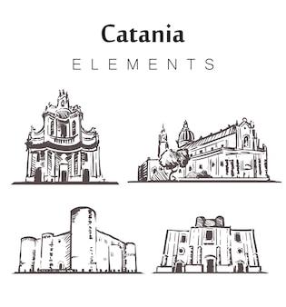 Insieme di edifici catania disegnati a mano