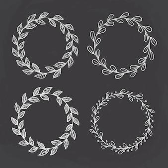 Set di telaio cerchio disegnato a mano. meglio per logo o invito a nozze