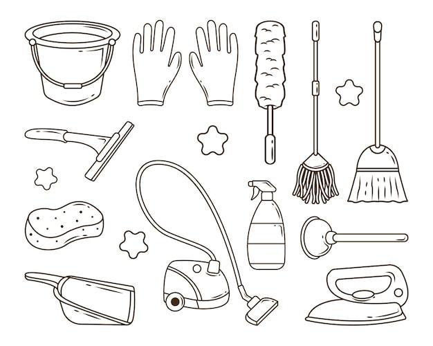 Set di servizi di pulizia disegnati a mano in colorazione stile doodle Vettore Premium