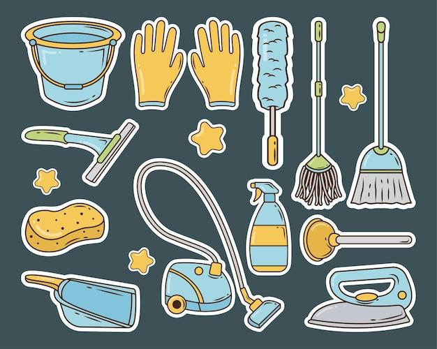 Set di adesivi di servizio di pulizia disegnati a mano in stile doodle