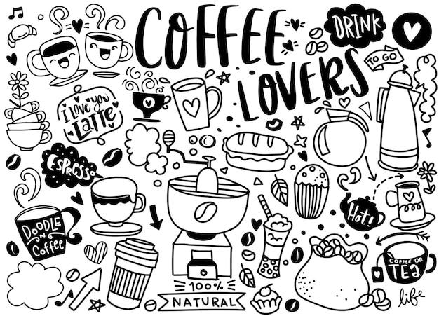 Set di caffè disegnati a mano e deliziosi dolci. illustrazione vettoriale